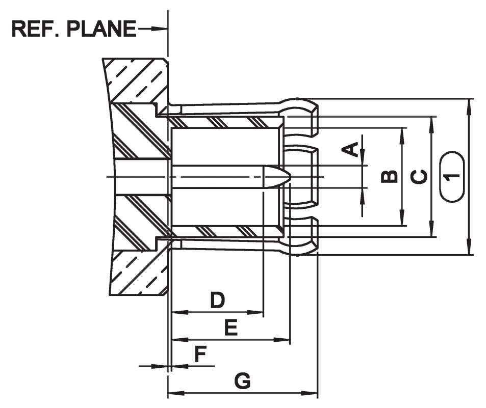 1.6/5.6 DIN RF connector male plug CAD drawing