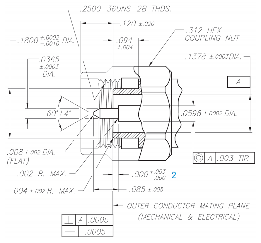 3.5mm precision RF connector male plug CAD drawing