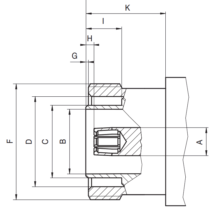7/16 DIN RF connector female socket CAD drawing
