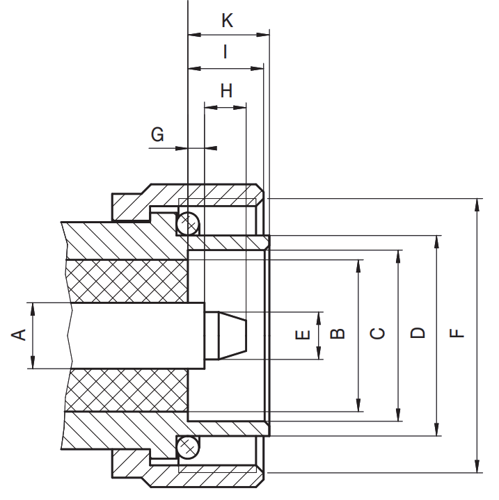 7/16 DIN RF connector male plug CAD drawing