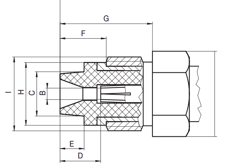 FME female jack RF connector CAD interface drawing
