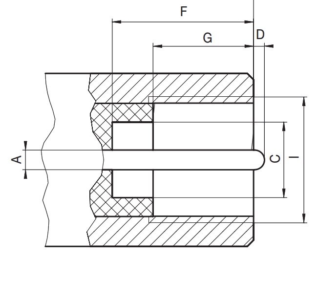 FME male plug RF connector CAD interface drawing
