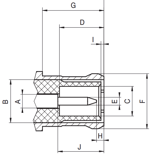 MCX male plug RF connector CAD drawing