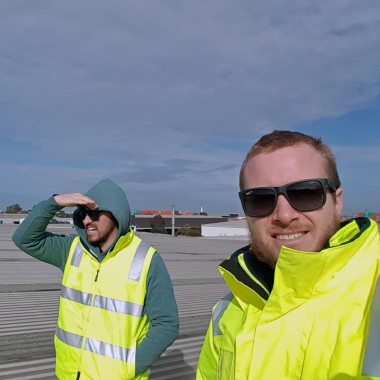 Inspection of rooftop site for microwave link, Melbourne Australia