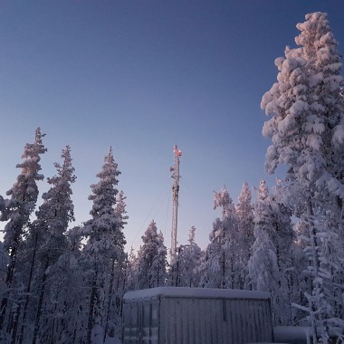 Broadcast tower in Lapland, Finland during Polar Night