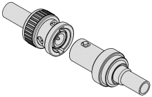 Bayonet coupling mechanism RF connector