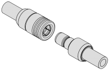 Snap-on coupling mechanism RF connectors