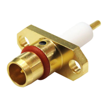 BMA male straight two hole flange mounted connector with round post attachment