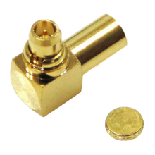 "MMCX male right angle solder connector for 0.086"" semi flexible and semi rigid cable types"