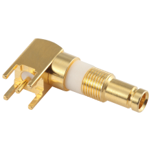 1.0/2.3 type-A screw on female straight connector with PCB through hole mounting