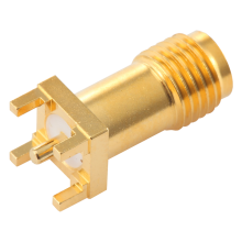 SMA Female straight connector PCB Through Hole mounting