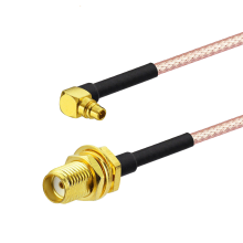 Superbat MMCX Male Right Angle to SMA Female Bulkhead RG-316 Cable Assembly