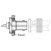 two hole flange, rear mount RF connector