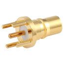 QMA female straight connector with PCB through hole mounting