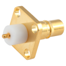 QMA female straight connector with 4-hole flange mounting, round post attachment