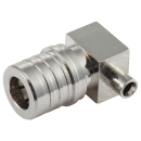 "QMA male right angle solder connector for 0.086"" semi-flex semi rigid coaxial cables"