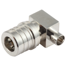 "QMA male right angle solder connector for 0.141"" semi-flex semi rigid coaxial cables"