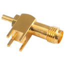 SMA female straight PCB mount connector for 1.13mm and 1.32mm micro coaxial cable