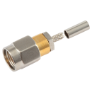 SMA male straight crimp connector for 1.13, 1.32, and 1.37mm micro coaxial cable