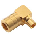 "SMB female right angle solder connector for 0.086"" semi flexible and semi rigid cable types"