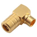 "SMB female right angle solder connector for 0.141"" semi flexible and semi rigid cable types"