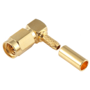 SSMA male right angle crimp connector for LMR-100, RG174, RG316
