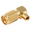 "SSMA male right angle solder connector for 0.086"" semi-flexible and semi-rigid cable types"